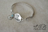 BORN TO WANDER - Antique Silver Tone Bangle