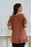 BRYCE - Vintage Long Length Ruffle Sleeve Cold Shoulder T-Shirt