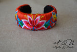 BOTANICAL GARDEN- Embroidered Satin Cuff Bracelet