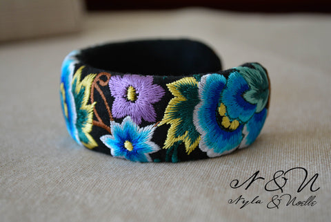 BOTANICAL - Embroidered Satin Cuff Bracelet by Nyla and Noelle