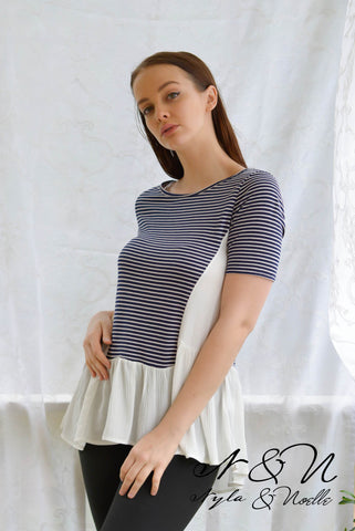 MURIEL - Striped Tunic Top with Ruffle by Nyla and Noelle