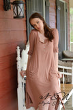 ANNIKA - Peach Cobbler Everyday Dress with Front Slouch Pockets