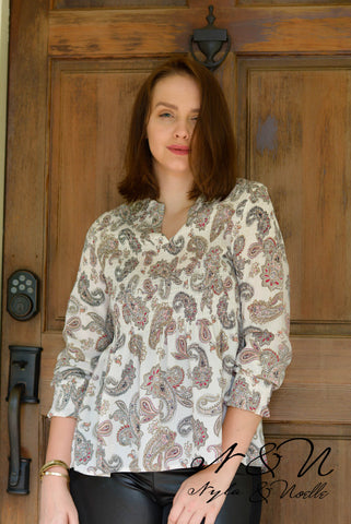 WINNIE - Smocked Fit and Flow Paisley Top by Nyla and Noelle