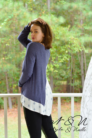 CHARLESTON - Top with Draping Back Panel of Printed Crepe