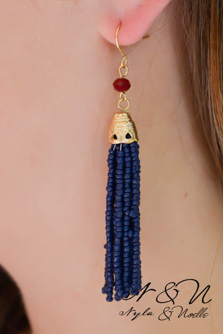 CHATEAU - Navy Beaded Tassel Earrings by Nyla and Noelle