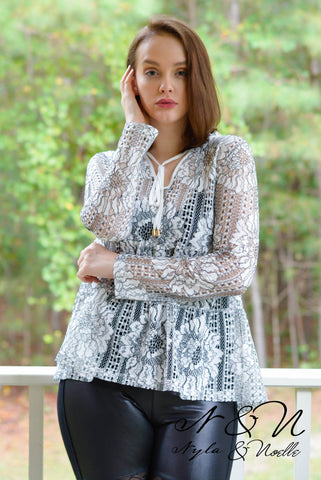 MAGNOLIA - Open Embroidered Lace Top by Nyla and Noelle