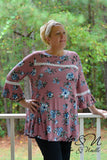 DEVEREAUX - Plus Size Vintage Floral Print Long Tunic