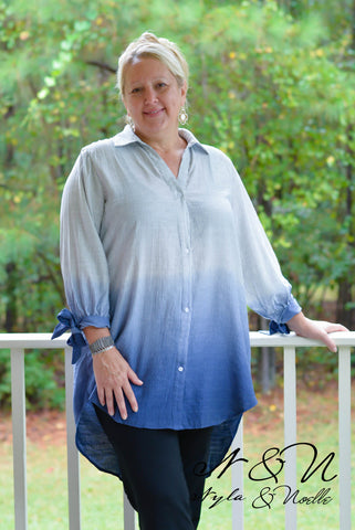 KARLA - Plus Size Ombre Dip Dyed Over Size Shirt by Nyla and Noelle
