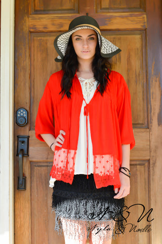 BONITA Kimono - Wrap with Ties and Lace Hem by Nyla and Noelle