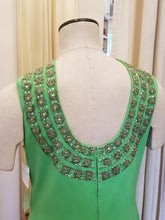 Load image into Gallery viewer, Green beaded shift dress