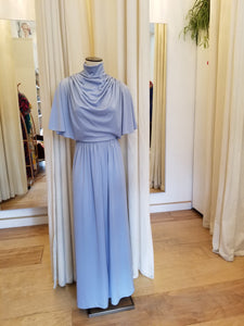 Blue cowl neck maxi dress
