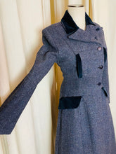 Load image into Gallery viewer, 1950's Blue Wool and Velvet Overcoat