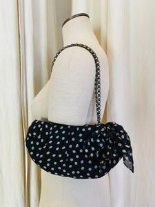 1990's Christian Louboutin  Bow + Silk Polka Dot Shoulder Bag