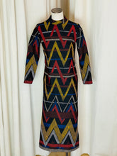 "Load image into Gallery viewer, 1970's ""Honey Comb"" Multi Colored Graphic Line Print Dress"