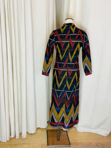 "1970's ""Honey Comb"" Multi Colored Graphic Line Print Dress"