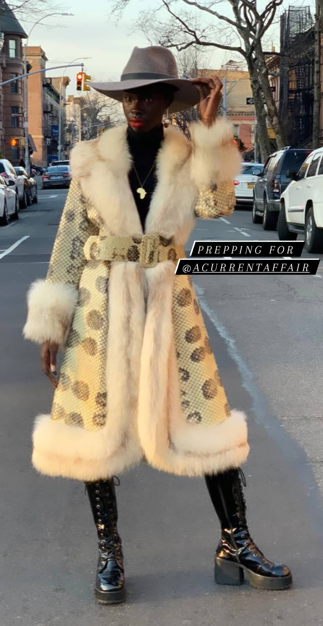 Vintage. Genuine python and fox fur