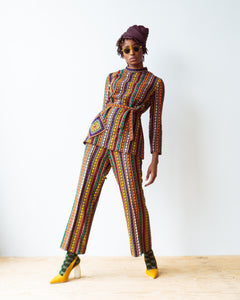 1970's Ethnic Woven Belted Two piece