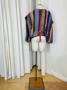 Jeff Banks Button and Wool Poncho Top