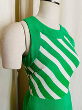 Load image into Gallery viewer, 1960's John Marks Green and White Vertical Striped Maxi