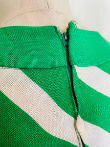 1960's John Marks Green and White Vertical Striped Maxi