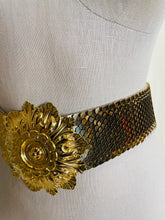 Load image into Gallery viewer, 1980's Vintage Gold Floral and Scale Elastic Belt