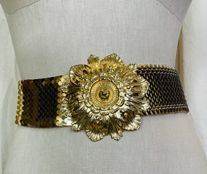 1980's Vintage Gold Floral and Scale Elastic Belt