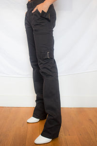 Black Cotton Pants w/ Buckle