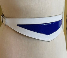 Load image into Gallery viewer, Thierry Mugler Purple and White Asymmetrical Buckle Belt