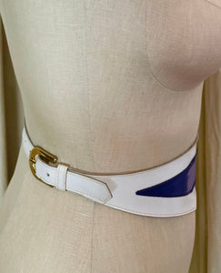 Thierry Mugler Purple and White Asymmetrical Buckle Belt