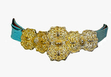 Load image into Gallery viewer, 1980's Gold and Turquoise Adjustable Clip belt