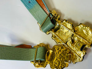 1980's Gold and Turquoise Adjustable Clip belt