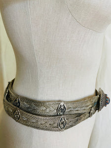 Vintage Woven metal and Precious Stone Belt