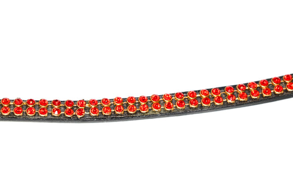 Heritage Two Row Red Crystal Browband - 4Pony.com