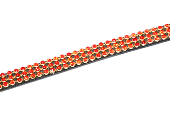Heritage Three Row Red Crystal Browband - 4Pony.com
