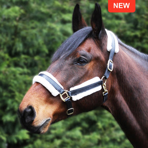 Gallop - Prestige Faux Fur Leather Headcollar Black