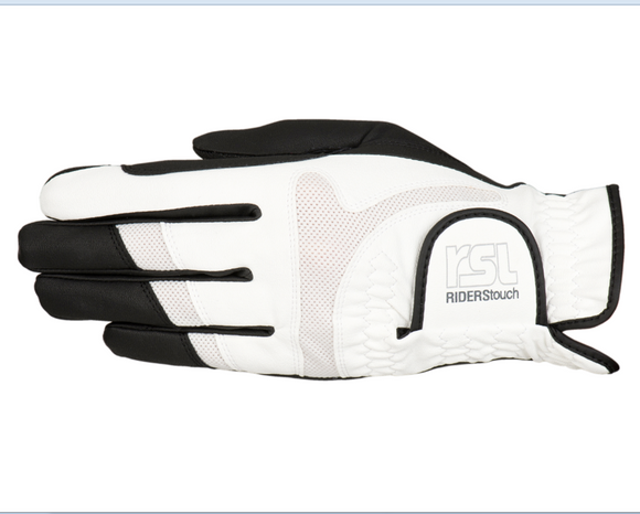 RSL Rotterdam TOUCH Riding Glove - Black/White - 4Pony.com