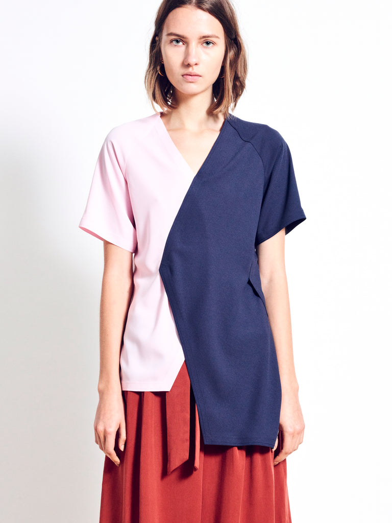 MACIE Crepe Colour Block Top