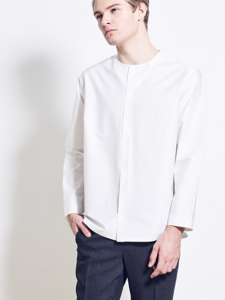 ETHAN Cotton Poplin Collarless Shirt