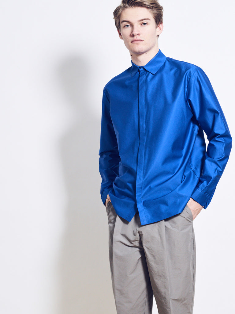 CHRISTIAN Cotton Poplin Shirt with Spread Collar