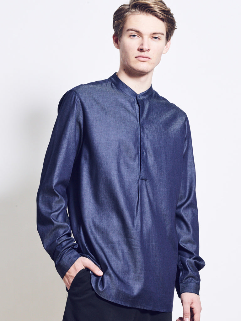 DYLON Long Cotton Denim Shirt