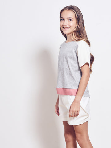 SEVINY Cotton Jersey Colorblock Top