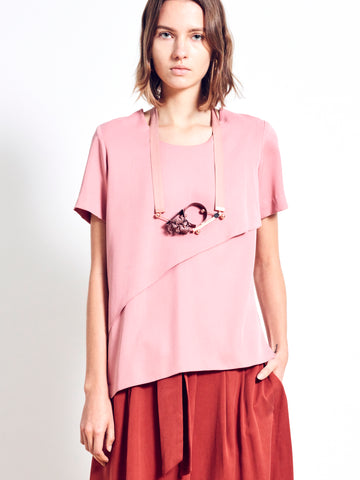 FREYDA Tiered Asymmetric Crepe Top