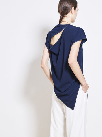 LIVIE Crepe Slash Draped Top