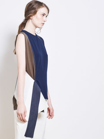 ENIIKO Crepe Colour Block Draped Top