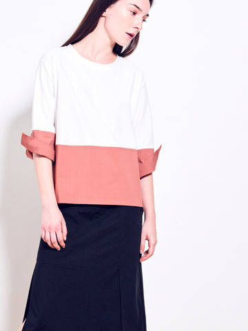 MARCIE Cotton Jersey Bi-Colour Top SOLD OUT
