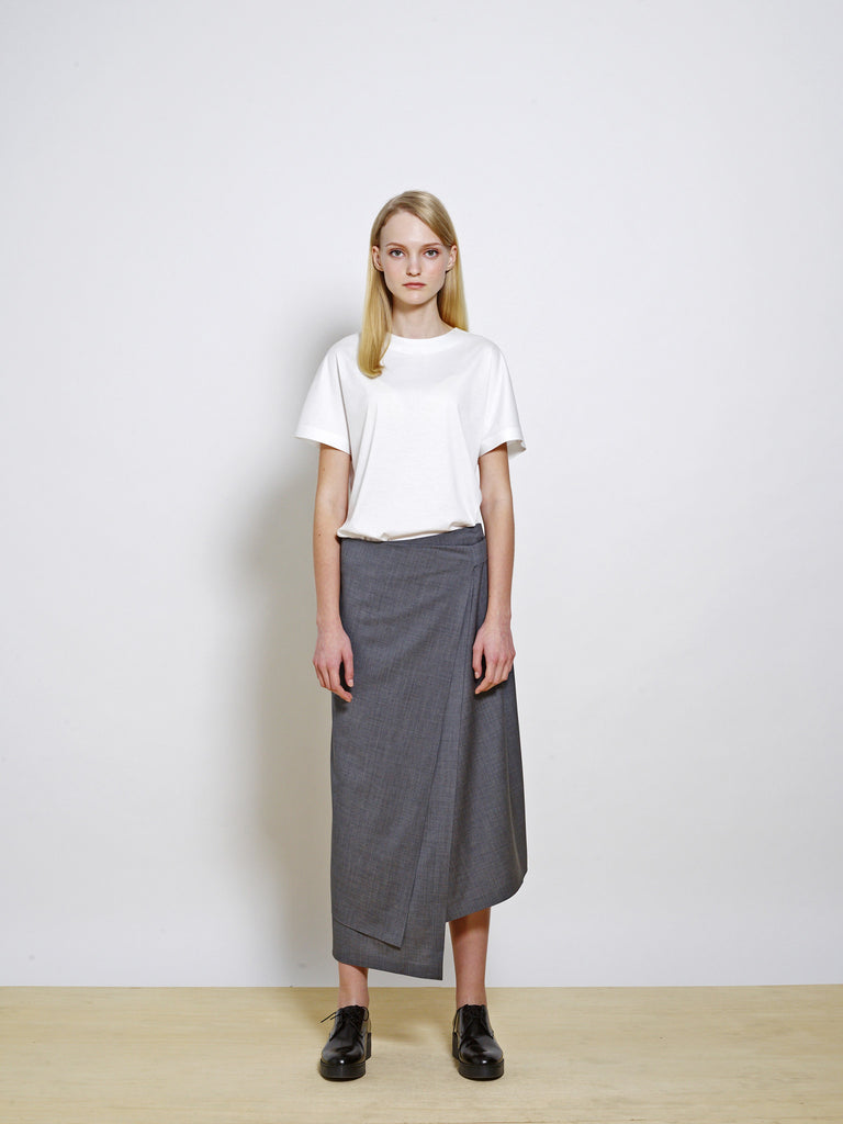 ELSPETH Stretch Wool Midi Skirt