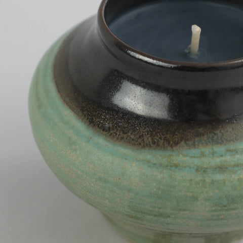 Two-Tone Rounded Vessel with Candle