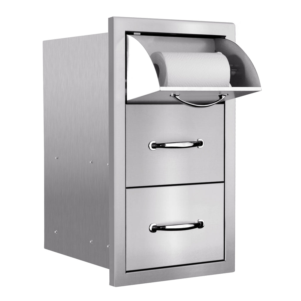 "17""  Vertical 2-Drawer & Paper Towel Holder Combo w/ Masonry Frame Return"