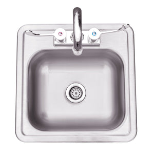 "15x15"" Stainless Steel Drop-in Sink & Hot/Cold Faucet"
