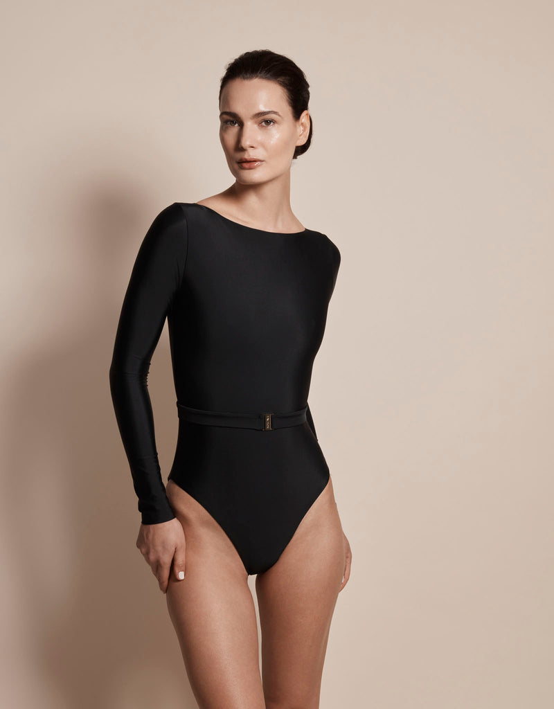 Luxury long sleeve sun protective sustainable swimsuit in black